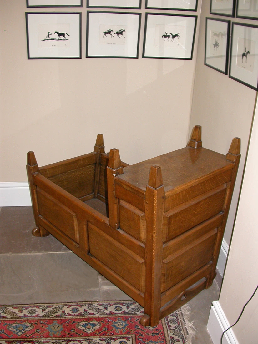Handmade old fashion style oak baby rocking cradle with raised panels and head nest