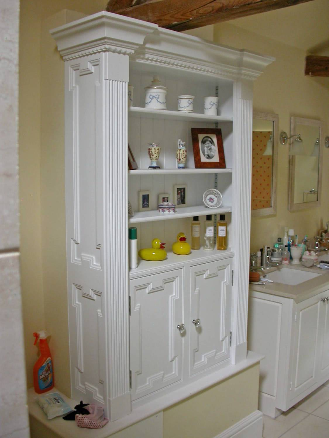 Handmade fitted bathroom cabinets with open shelves