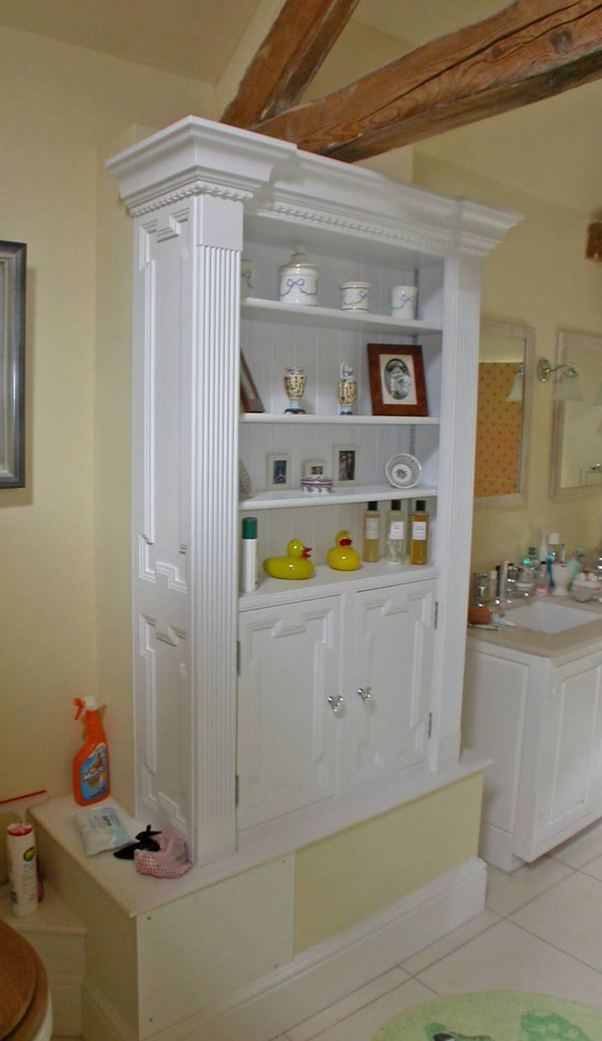 Bespoke fitted bathroom cabinets with open shelves