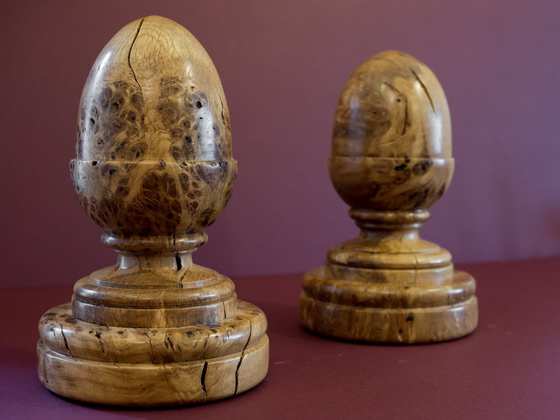 Two Welsh burr oak finials ideal for a staircase