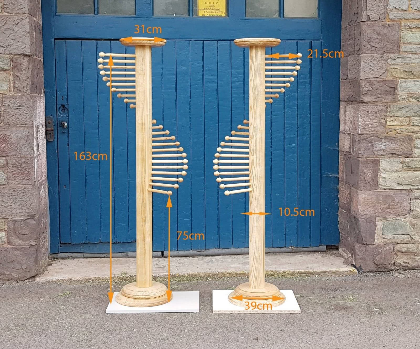 Pair of Scarf Stands outside of workshop with measurements in centimeters